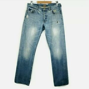 PRPS Distressed Button Fly Japanese Selvedge Jeans